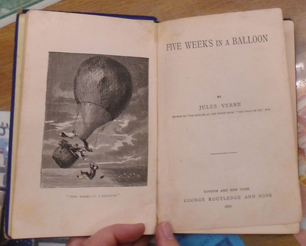 Five Weeks in a Balloon title page and frontispiece