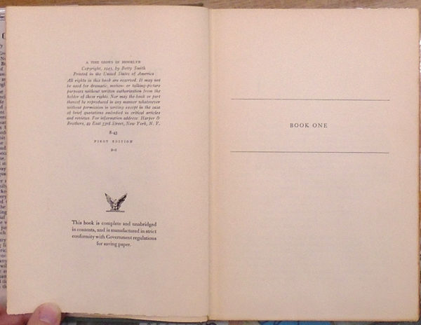 A Tree Grows in Brooklyn copyright page