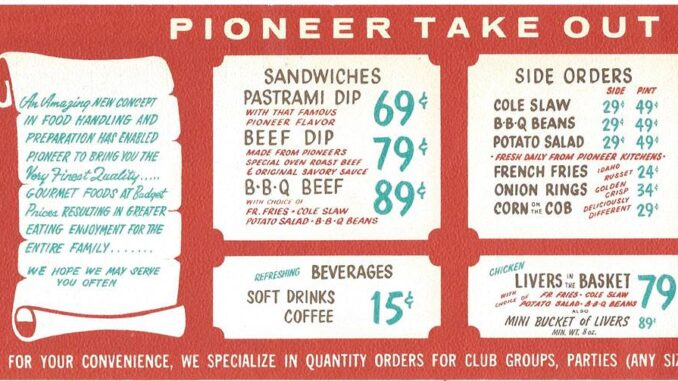 A vintage Pioneer Chicken menu